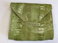 R & Y AUGOUSTI Pale Green Ostrich Leg/Stingray Envelope Clutch