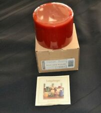 Boxed New Longaberger Pint Size Pillar Cinnamon Clove Red Candle
