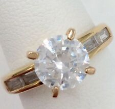 Cz Ring Size 5.25 3.7 Grams Sterling Silver 2.00Tcw Round & Baguette Cut