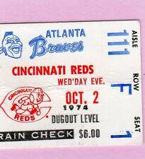 1974 Hank Aaron Last NL At Bat/HR 734 Ticket Pass/Record /Phil Niekro 20 Win