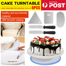 6Pcs Cake Stand Turntable Rotating Comb + Icing Smoother + Icing Spatula Decor