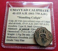 VF Standing Caliph Umayyad Caliphate Coin Qinnasrin Fals Genuine