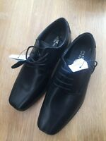 M & S Kids Boys Black Leather Lace School/formal  Shoes Size 1 BNWT