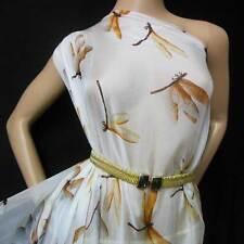 DESIGNER 100% PURE SILK CHIFFON vintage dragonfly PRINT BY THE YARD npc 34718