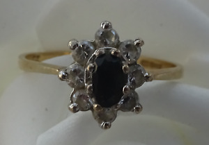 NEW 9ct 375 14ct 585 ladies yellow white gold dress rings sapphire Cubic Zircon