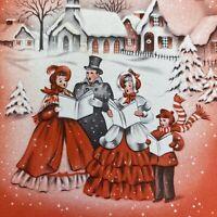 Vintage Mid Century Christmas Greeting Card Victorian Family Caroling Pink Sky