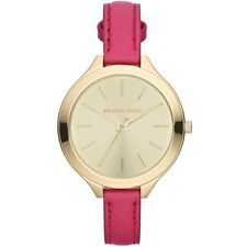Michael Kors Thin Runway Ladies Watch Gold Face Dark Pink Strap MK2298