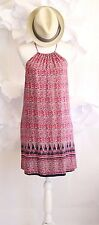 LUCKY BRAND Boho Halter Swing Summer Shift Dress Beach Cover-Up Sz S Red/Blue
