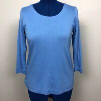 J Jill Size S Blue Perfect Pima 3/4 Sleeve Seamed Tee Scoop Neck 100%Pima Cotton