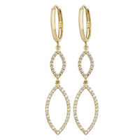 Gold Damen Paar Ohrringe mit Zirkonia Elegante 9 Karat 375 59mm*2mm