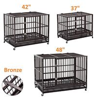 """For Strong Dogs 37""""/42""""/48"""" Dog Crate Kennel Heavy Duty Pet Cage Playpen w/ Tray"""