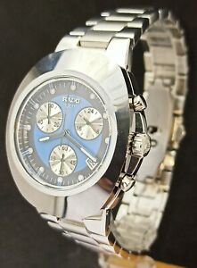 Beautiful Rado Chronograph Blue Dial with Date Men's Stainless Steel Watch