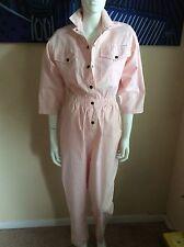 DREAMS Vintage Horizontal White & Pink Stripes Jumper/Jumpsuit Size Medium