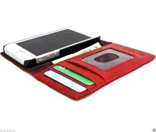 genuine real leather case for iphone 5 cover book wallet stand holder card red