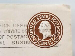 Antique George Washington Brown 1 1/2 Cent Stamp on Envelope