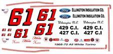 #61 Hoss Ellington 1968-70 Ford Torino 1/64th HO Scale Slot Car Decals