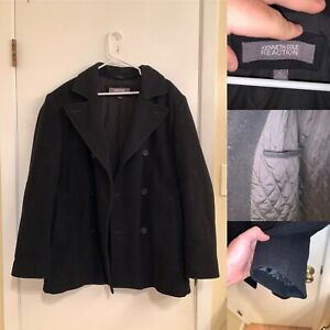 Kenneth Cole Reaction Coat Mens Size L Lined Black Long Sleeve Heavyweight