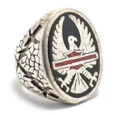 T12D01 Vintage G & S Eagle with Harley Emblem Motorcycle Silver Ring Size 7