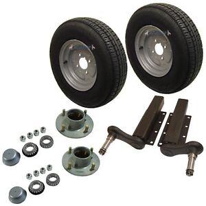 """750kg Trailer Suspension Units Wheels Tyre 145 x 10"""" 4PLY 4""""PCD 4 Stud Hub"""