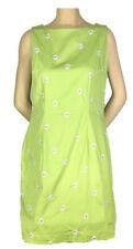 Amanda Smith Sleeveless Sheath Dress~Green~Embroidered Daisy~Vtg Style~Sz 14