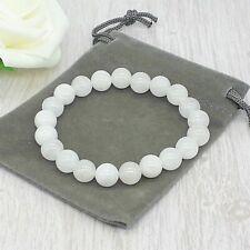 Handmade Natural White Jade Gemstone Stretch Bracelet & Velvet Pouch. 4/6/8mm