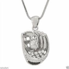 "W Swarovski Crystal Baseball Softball Glove Ball New Pendant Necklace 18"" Chain"