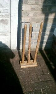 HEAVY WOODEN Cricket Stumps VINTAGE 66CM HIGH ON 26CM X 11CM BASE VERY OLD