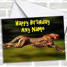 Fast Speedy Cheetah Birthday Customised Card