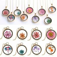 Fashion Women Wish Natural Real Dried Flower Glass Pendant Necklaces Charm Gifts