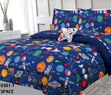 ROCKET PLANETS KIDS BOYS COMFORTER SET SHEET SET AND CURTAINS 10PCS FULL SIZE