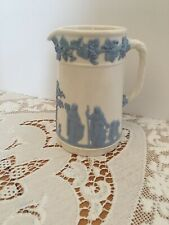 Wedgwood Jasper Ware Reverse Blue on White Milk Jug, Pitcher, Creamer HTF