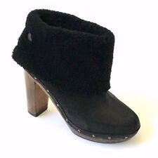 GERARD DAREL Black SHEARLING/SHEEPSKIN-CUFF Wood-Platform Ankle Boots NEW 6/36