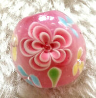 10pcs exquisite handmade Lampwork glass  beads pink flower round 14mm