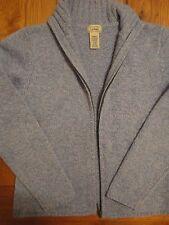 LL BEAN WOOL ANGORA Knit BLUE Cardigan Sweater Womens SMALL