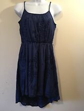 MY MICHELLE Navy Blue Rayon Dress Eyelet Polyester Fit&Flare Spaghetti Straps S