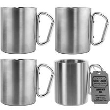 4pk Scott Lawson Karabiner 10oz Mugs Stainless Steel Travel Cup Carabiner Handle