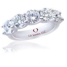 U Prong Diamond Band 14K 1.75Ct F Si1 5 Stone