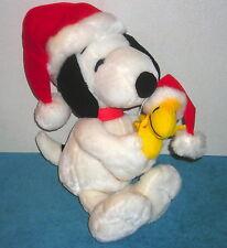 "PEANUTS SNOOPY & WOODSTOCK 18"" CHRISTMAS SANTA PLUSH TOY"