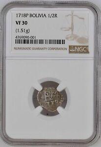 Bolivia  Pirate Cob, 1718-P Silver 1/2 Real KM-27 NGC, VF-30