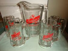 1960's - 70's Leienkugel's Glass Pitcher and 4 Glass Mugs - Very Heavy