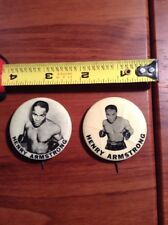 1940's PM10 Boxing Henry Armstrong World Champion Stadium Pin Boxer Button X2