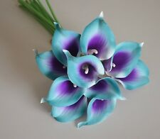10 Teal Purple Calla Lilies Real Touch Flowers For Wedding Bouquets Centerpieces