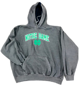 Vintage Notre Dame Fighting Irish NCAA Mens Gray Hoodie Sweatshirt 2XL Logo