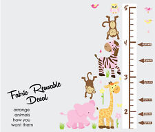 Safari Animals with Growth Chart Decal,Girl Room Art, Height Chart Wall Sticker