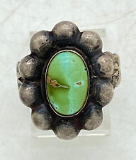 """Navajo Early Fred Harvey Era Sterling Silver Turquoise Ring Adjustable 7/8"""" 4.9g"""