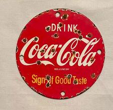 VINTAGE COKE COCA-COLA SODA PORCELAIN SIGN CAR GAS OIL TRUCK GASOLINE
