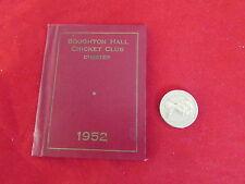 Broughton Hall Cricket Club CHESTER STAGIONE 1952 dispositivo CARD / membri TICKET