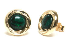9ct Gold Green Abalone Paua Shell Studs earrings Gift Boxed Made in UK