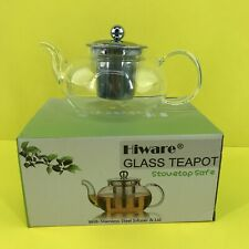 New listing Hiware Good Glass Teapot w/Stainless Steel Infuser Lid 27oz #4353 Z50 B17