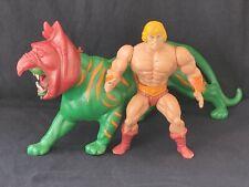VINTAGE 1981 MATTEL MOTU HE-MAN ACTION FIGURE MEXICO SOFT HEAD BATTLE CAT & AXE!